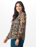 Navy Floral Blouse With Smocking And Lurex - 3
