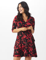 Scroll Tiered Dress - Misses - black/red - Front