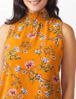 Floral Crepe Mock Neck Blouse - Misses - 5