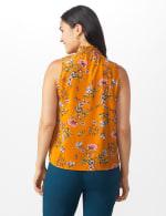 Floral Crepe Mock Neck Blouse - Misses - Amber - Back