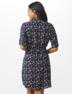 Ditsy Print Shirt Dress - Navy - Back