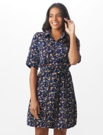 Ditsy Print Shirt Dress - Navy - Front