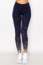 Ombre Space Metallic Legging - Navy - Front
