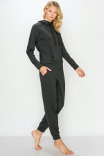 Fleece-Lined Drawstring Hoodie and Jogger Set - 3