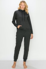 Fleece-Lined Drawstring Hoodie and Jogger Set - 4