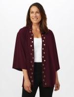 Roz & Ali Novelty Sleeve Grommet Cardigan - Burgundy - Front