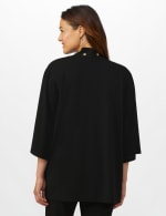 Roz & Ali Novelty Sleeve Grommet Cardigan - Black - Back