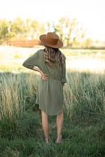 Clip Dot Shirt Dress - Kale - Back