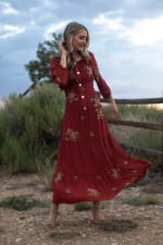 3/4 Sleeve Embroidered Textured Peasant Dress - 3