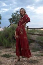 3/4 Sleeve Embroidered Textured Peasant Dress - 4