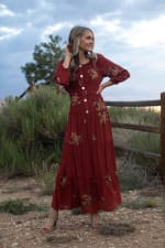 3/4 Sleeve Embroidered Textured Peasant Dress - 5