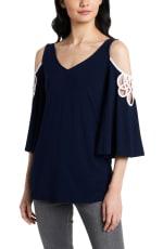 Crochet Cold Shoulder Tunic Knit Top - Misses - 4