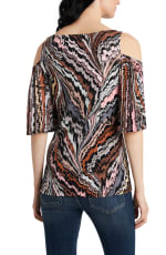 Cold Shoulder Abstract Neutrals Knit Top - Neutral - Back