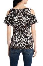 Cold Shoulder Animal Knit Top - Black/White - Back