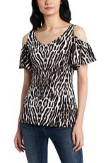 Cold Shoulder Animal Knit Top - 4