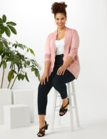 Roz & Ali Scallop Trim Cardigan - Plus - Misty Rose - Front