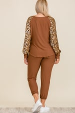 Leopard Print Lounge Set - Plus - Brown - Back