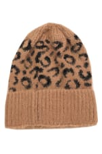 Leopard Print Soft Knitted Beanie - Brown - Front