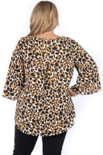 Flowy Plus Size Contrast Leopard Print Top with Keyhole Front - Plus - Camel Leo - Back