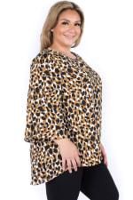 Flowy Plus Size Contrast Leopard Print Top with Keyhole Front - Plus - 3