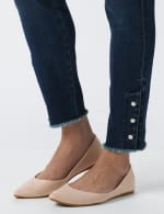 Westport Signature 5 Pocket Skinny Ankle Jean With Snap Button At Ankle - Dark Wash - Detail