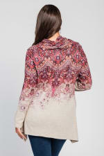 Border Print Cowl Neck Sharkbite Knit Top - Plus - Orange - Back