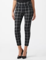Knit Plaid Pull On Pant with Pocket Detail - Black/ultramarine - Front
