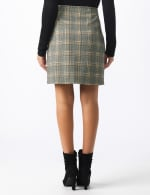 Plaid A Line Skirt with Patch Pockets - Black/masala - Back