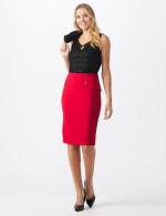 Pencil Skirt with Enamel Button Trim - 6