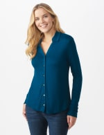 Rayon Span Pique Shirt - Misses - Texas Teal - Front