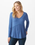 Pointelle V-Neck Knit Top - Denim - Front