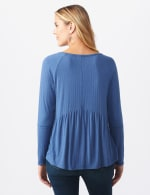 Pointelle V-Neck Knit Top - Denim - Back