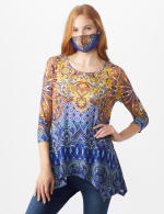 Anne Spice Sharkbite Knit Top & Matching Fashion Face Mask Set - Misses - Multi - Front