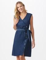 Denim Side Button Dress - Dark denim - Front