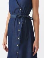 Denim Side Button Dress - 4