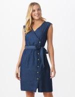 Denim Side Button Dress - 6