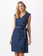 Denim Side Button Dress - 5