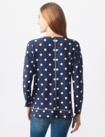 Polka Dot French Terry Sweatshirt - Misses - Navy - Back