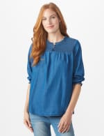 Denim Popover Top - Misses - Denim - Front