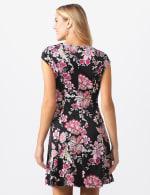 Floral Fit and Flare Dress - Black/pink multi - Back