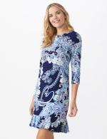 Paisley Flounce Hem Dress plus - Navy/Multi - Front
