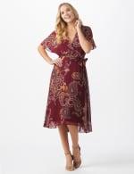 Paisley Wrap Midi Dress - Misses - Burgundy/mustard - Front