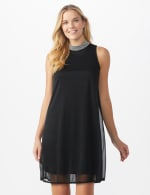 Beaded Mock Neck Dress - black - Front