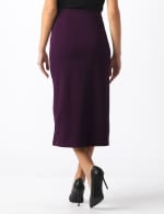 Side Slit Pull-On Pencil Skirt with Button Detail - Plum - Back