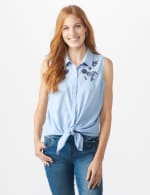 Sleeveless Embroidered Stripe Shirt - Misses - Blue - Front