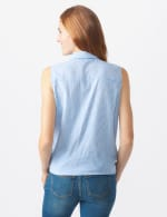 Sleeveless Embroidered Stripe Shirt - Misses - Blue - Back