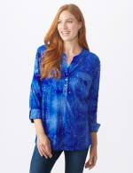 Sequin Blue Tie Dye Popover knit Top - 6