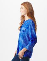 Sequin Blue Tie Dye Popover knit Top - 4