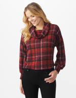 Red Plaid Cowl Neck Top - Misses - Red - Front