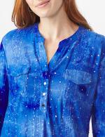 Sequin Blue Tie Dye Popover knit Top - 5